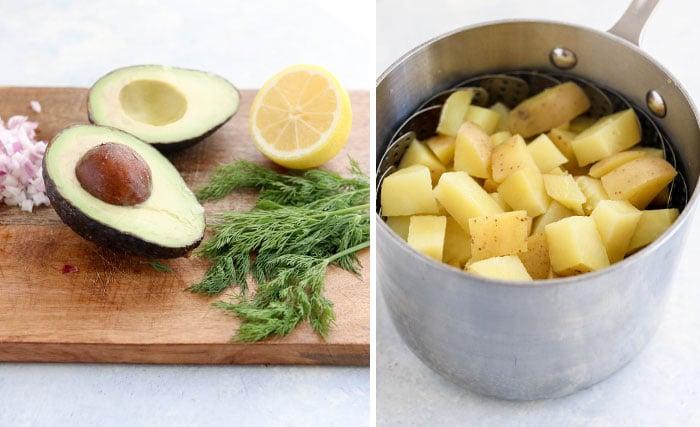 avocado and potatoes for salad