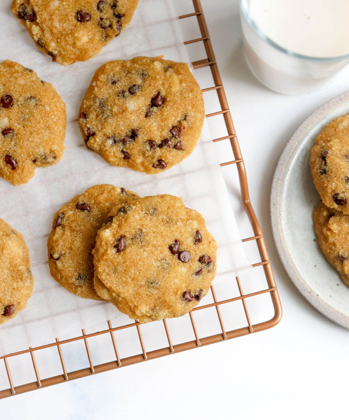 coconut flour chocolate chip cookies on wire rack