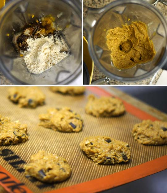 making cookie dough in a blender and placing dough onto a cookie sheet