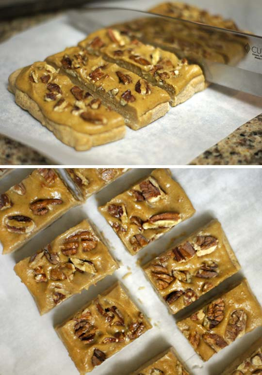 cut homemade snicker bars