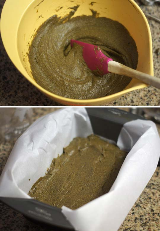 mixing pumpkin bread and putting it in a lined loaf pan