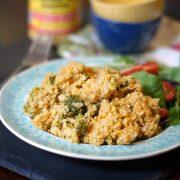 """plate of """"cheesy"""" broccoli and Quinoa casserole"""