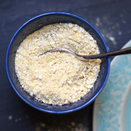 cashew parmesan in a small bowl