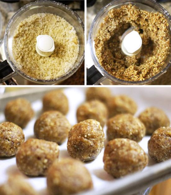 making date energy balls in a food processor and putting them on a cookie sheet