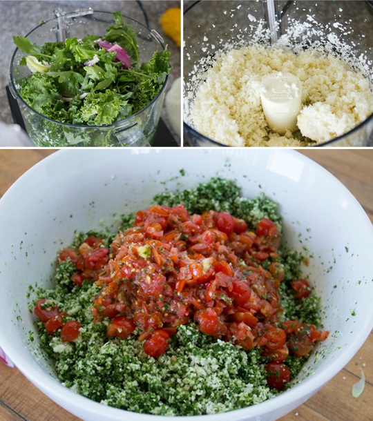 preparing Raw Cauliflower Tabouli