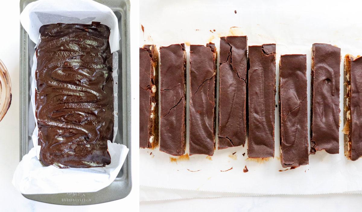 snickers recipe cut into 8 bars