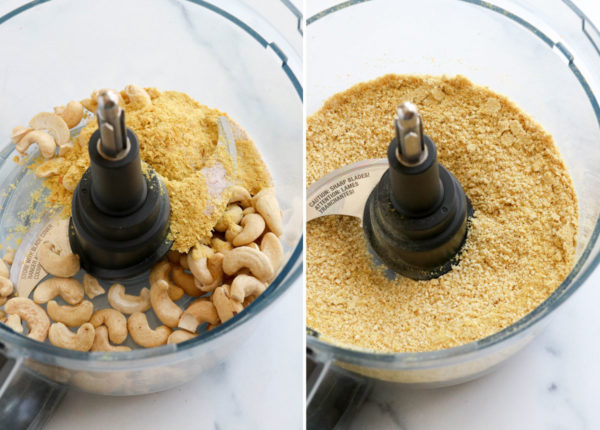cashew parmesan ingredients in food processor