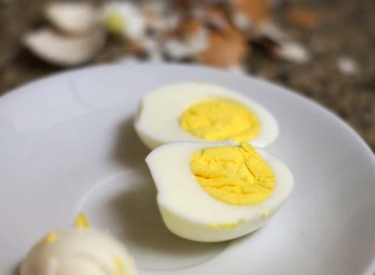 hard boiled egg cut in half