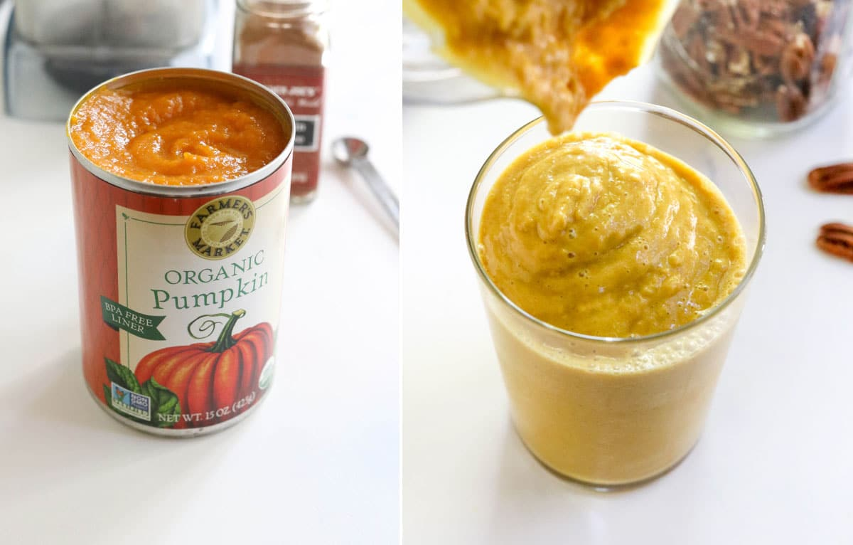 canned pumpkin in smoothie