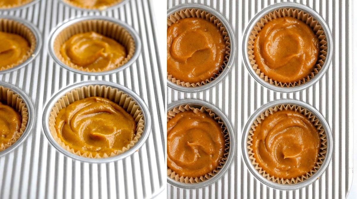 pumpkin filling in muffin cups