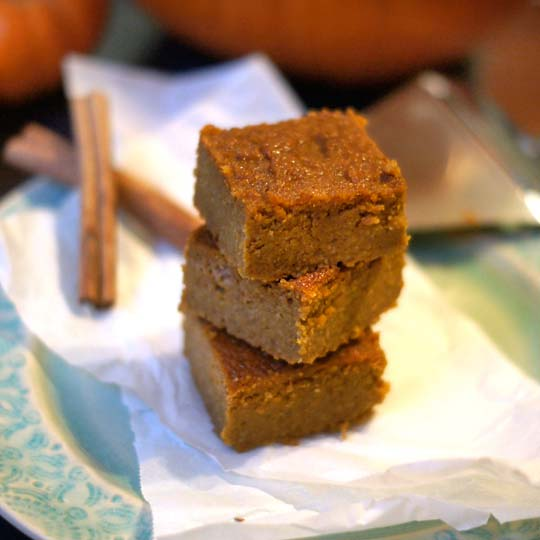 coconut flour pumpkin bars stacked