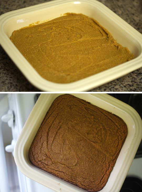 baked coconut flour pumpkin bars in a baking dish