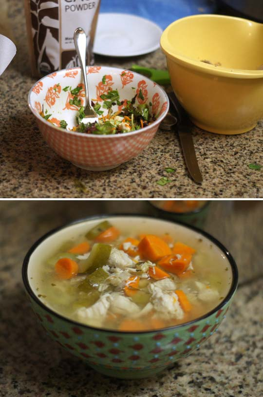 salad in a bowl and a bowl of chicken and vegetable soup