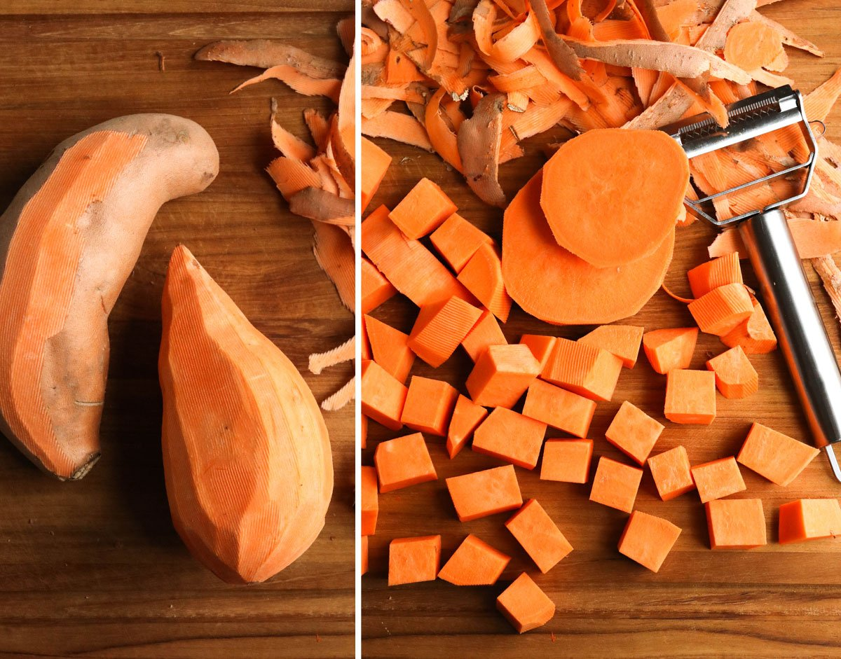 peeled and cut sweet potatoes on board