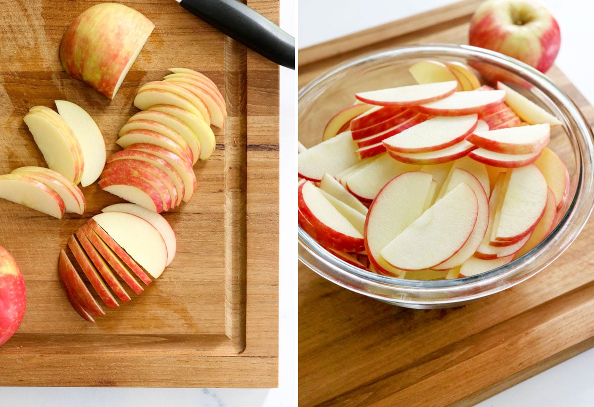 thinly sliced apples in bowl