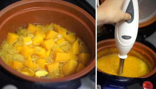 curried butternut bisque in a slow cooker