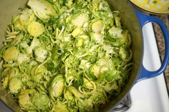 cooking brussels sprouts in a large pot