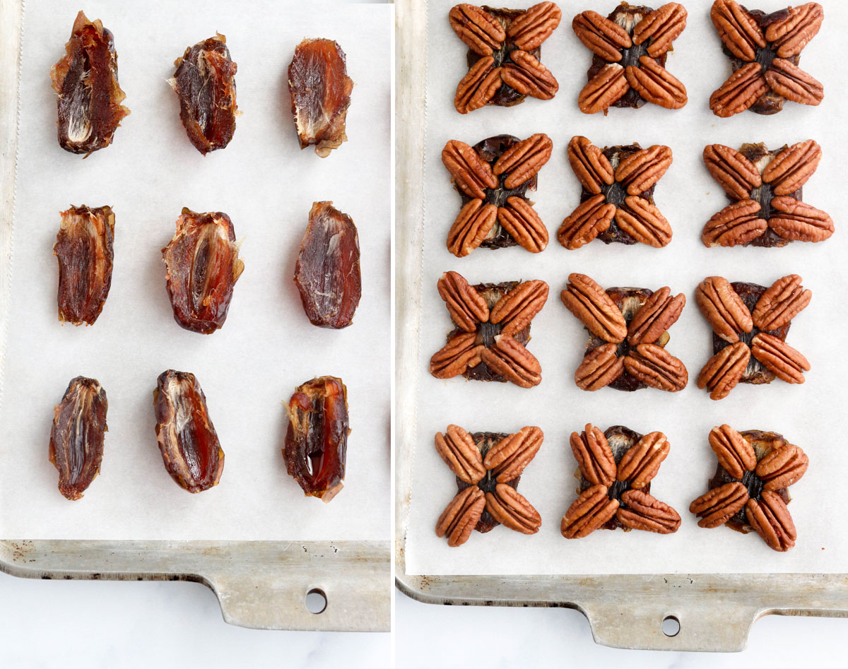 pitted dates with pecans on top