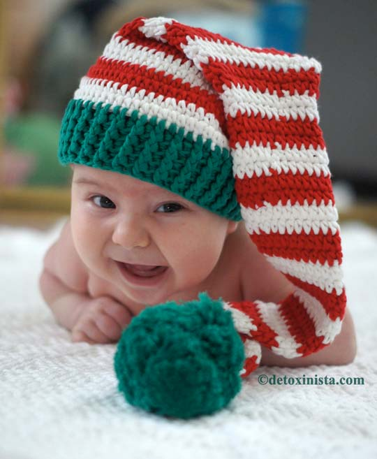 baby in a christmas hat
