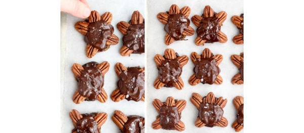 turtle heads added to chocolate