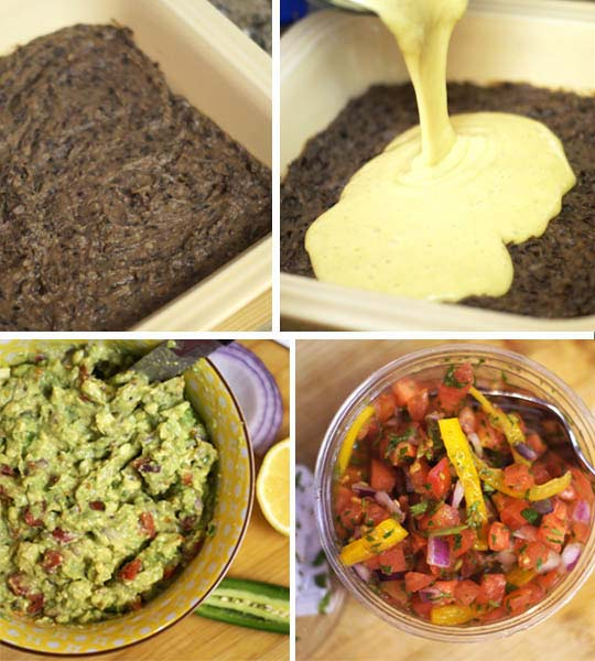 making healthy mexican layer dip