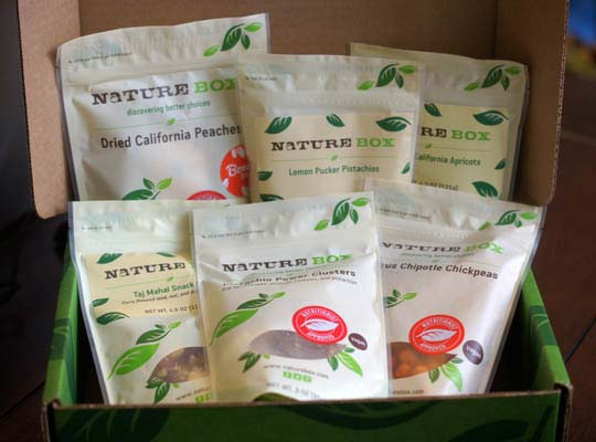 box of snacks from nature box