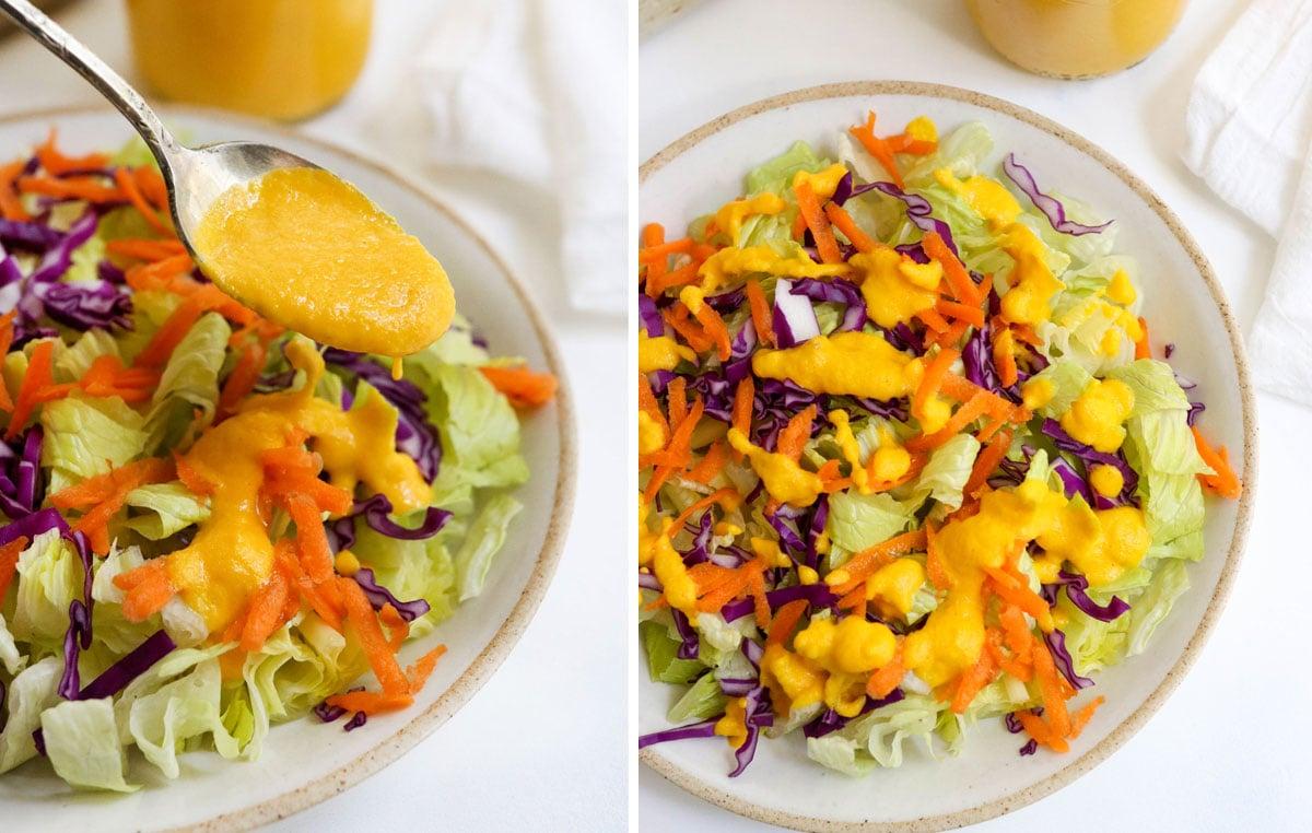 carrot ginger salad poured on salad