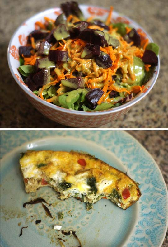 salad in a bowl and piece of frittata on a plate