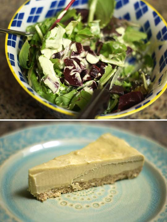 salad in a bowl and a slice of raw cheesecake on a plate