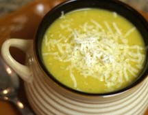 broccoli cheddar soup in a mug