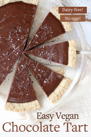 vegan chocolate tart pin for pinterest