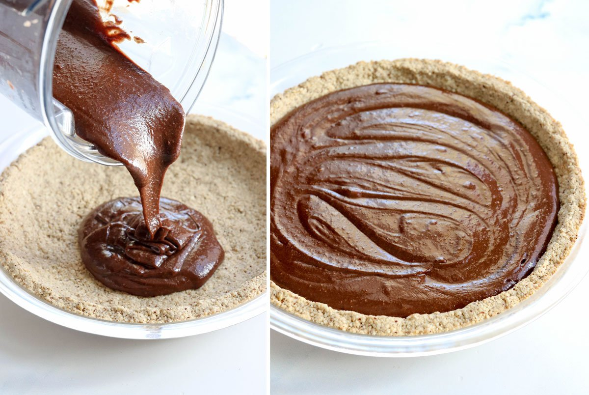 chocolate filling poured into crust