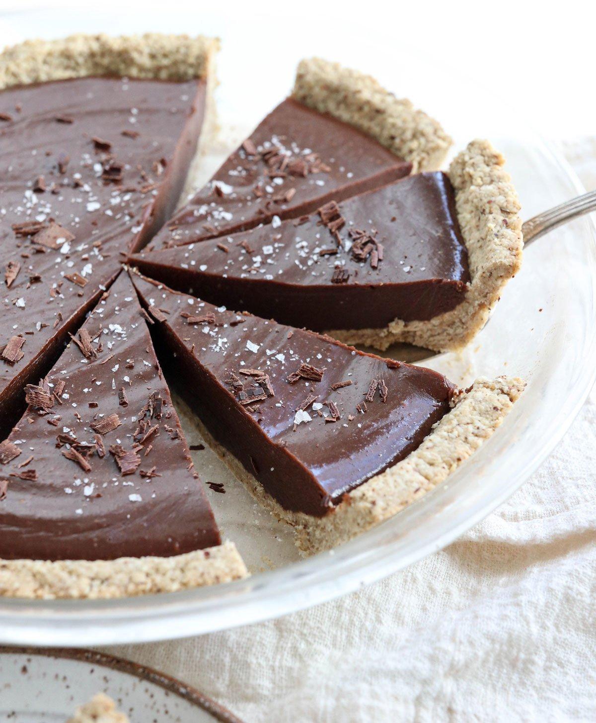 vegan chocolate tart with salt on top