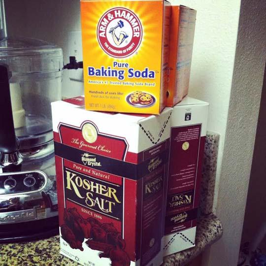box of baking soda and kosher salt