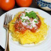 sweet and spicy spaghetti sauce on spaghetti squash