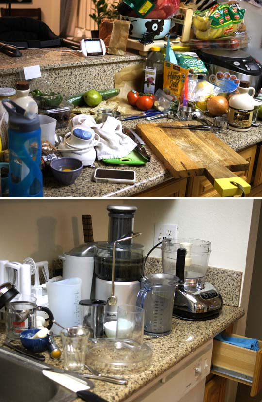 messy kitchen counters