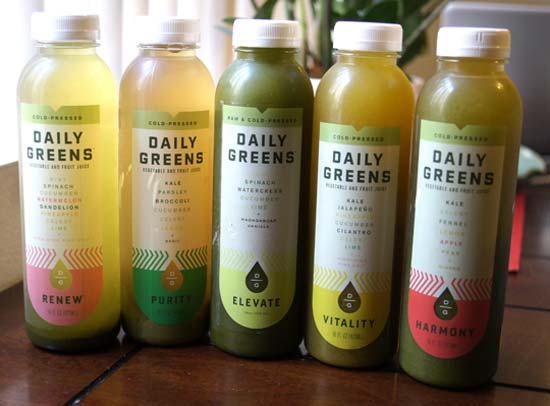 daily greens juice bottles