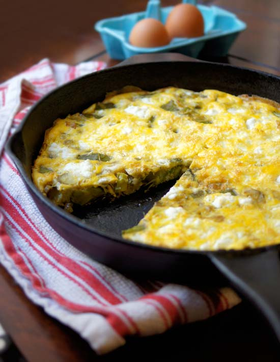 asparagus, leek and goat cheese frittata