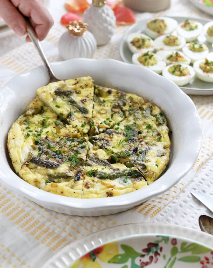 asparagus frittata being served