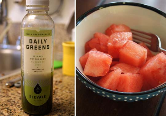 bottle of daily greens juice and a bowl with watermelon slices