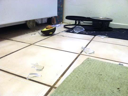 glass broken on the floor