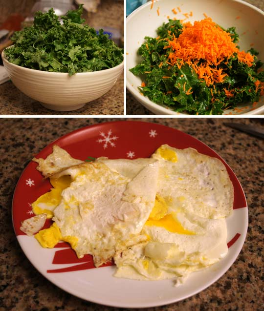salad in a bowl and scrambled eggs on a plate