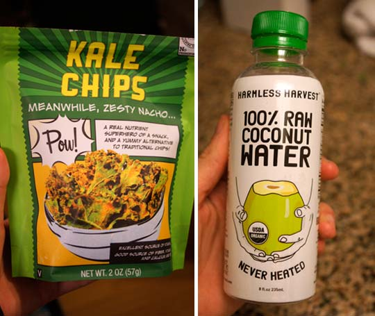 bag of kale chips and bottle of raw coconut water