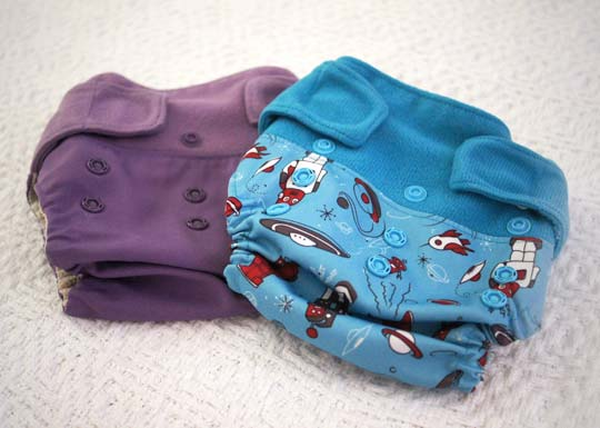 a purple and blue cloth diaper