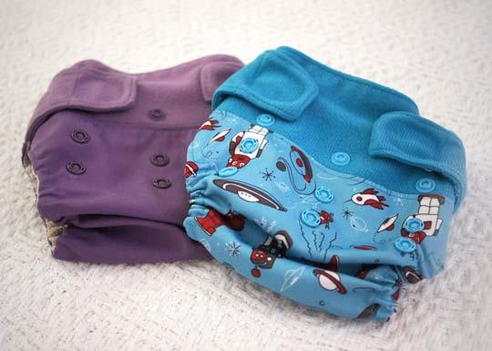 a purple and blue cloth diaper