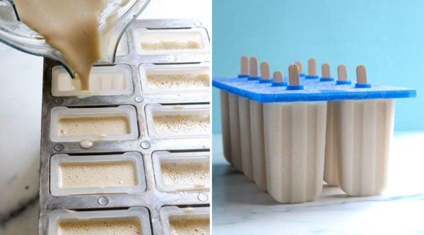 vegan ice cream poured into ice pop mold
