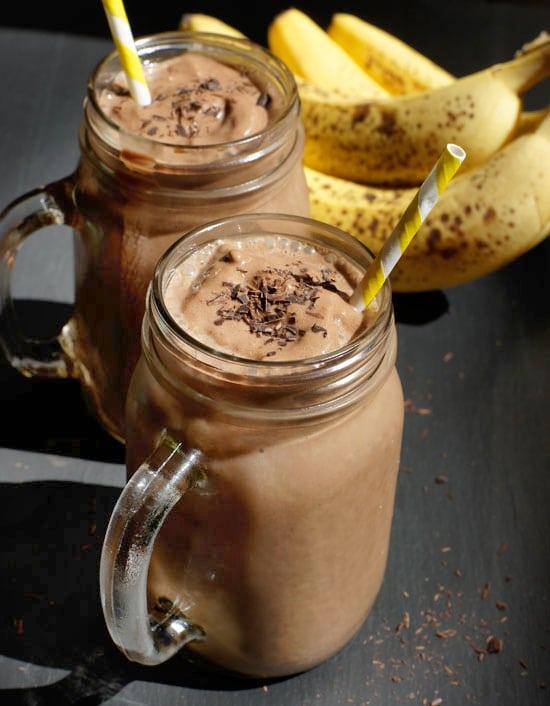 chcocolate banana protein milkshake