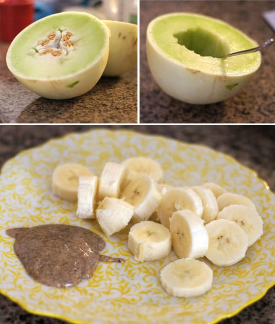 honeydew and a plate with banan slices and almond butter
