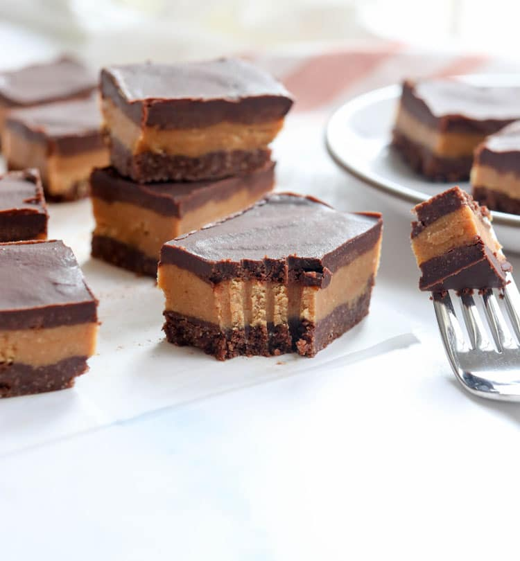 chocolate peanut butter bars with fork