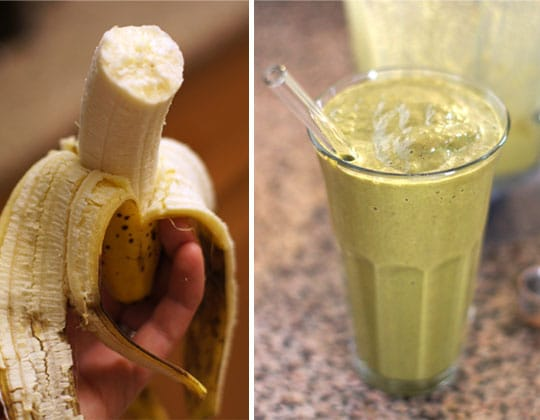 banana and a green smoothie